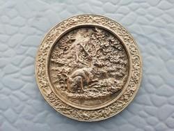Régi jelentes réz, bronz hamutartó,hamutál