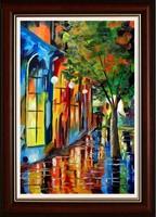 Anna Stopka - rainy evening - street scene - oil painting