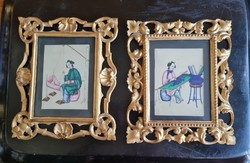 Couple painting on rice paper with gold frame