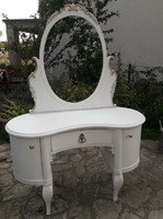 Rare antique kidney shaped dressing table in provence style painted and gilded, vintage