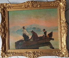 Biedermeier life picture, 3 figures traveling in a boat