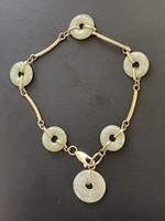 1 Forintról! 14 karátos arany Jade köves karkötő  ékszer