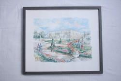 With sign: Legai - Watercolor, Versailles le parterre du midi