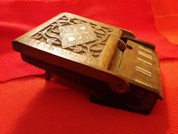 Old table wooden richly carved table cigarette holder inlaid as shown
