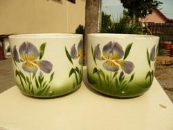 2 db ritka antik szecessziós hollóházi Riolit virágkaspó szép állapotban Csak párban eladó!