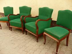 Antik ülőgarnitúra (két fotel, két szék) hibátlan stabil állapotban, tökéletes eredeti kárpittal