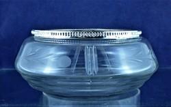 Curiosity, antique, silver rim, glass serving, Italian, ca. 1930 !!!