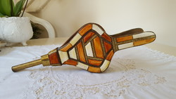 Bone inlay, copper-plated, fireplace bellows