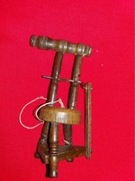 Old table shelf decoration with tiny ornament wooden spinning wheel in beautiful condition according to the pictures 12 cm