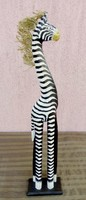 Maned zebra handcrafted wooden sculpture from Indonesia. Exotic decoration.