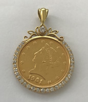 1901 usa gold $ 1 pendant with 32 + 1 diamonds - a fabulous collectible piece
