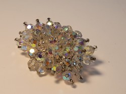 Faceted glass bead brooch