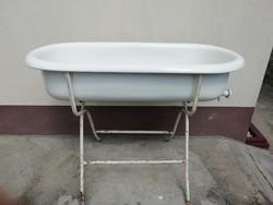 Retro Lampart baba fürdető kád, zománcos kád, állvánnyal