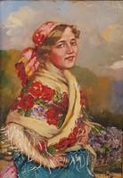 Ivanácz Zsolt (1869-?) : Lány népviseletben