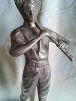 Large bronze v. Copper flutist boy sculpture very wide