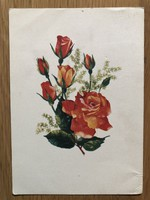Aranyos Virágos képeslap - D. Izsák Magda rajz