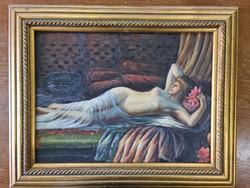 Lying female nude painting