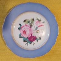 Kézzel festett porcelán süteményes kistányér - rózsás - 13,5 cm.