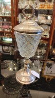 Lead crystal vase or cup. Hand sanding. Silver soles. Dianas l. 1900s.
