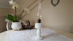 Antik,szakított üveg petróleum lámpa