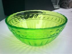 Uránzöld kínáló, salátás tál