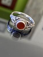 Régi ezüst gyűrű, karneol kővel