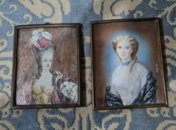 Two miniature portraits of the 19th Century