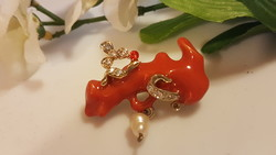 Fire enamel, cultured pearls and crystal brooch 4 cm.