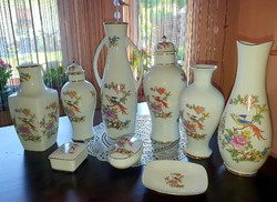 (9 db) Hollóházi vázák és ékszertartók együtt
