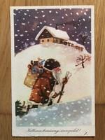 Aranyos Karácsonyi képeslap - Izsák Magda rajz