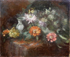 Hungarian painter: table still life, oil painting