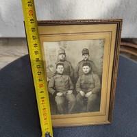 Antik réz keret,fotó tartó asztali katona, militaria téma fotó, Első világ hàború!