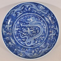Antique Chinese blue and white porcelain bowl with kangxi sign