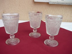 Three beautiful old large glass cups with heavy bases, cup, 16.5 cm, 3 dl, 0.5 kg, / pc.