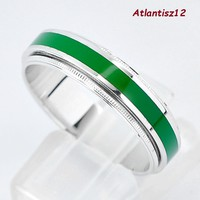 Extra curiosity! Genuine 925 sterling unisex silver ring with 2in1 fire enamel strip 4.18g !! (19.2Mm)