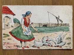 Aranyos antik rajzos és színezett képeslap - 1941