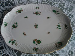 Herend porcelain tray with a rare Hungarian green - gold pattern, with an excellent mark!
