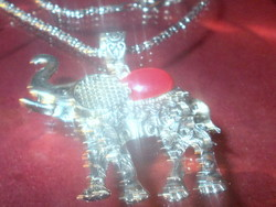 Coral mineral stone ornate elephant Tibetan silver necklace