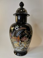 Pheasant patterned cobalt blue temple vase with lid (Chinese or Japanese porcelain)