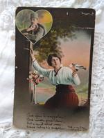 Antik I. világháborús fotólap/képeslap, katona, és kedvese 1915