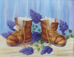 Boots with lilacs - flower still life (66x55.5 cm)