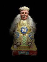 Ancient Chinese guarding the home, the god of fortune. Carved, painted wooden sculpture, Asian, Oriental, Japanese