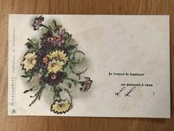 Antik Margaréta virágos képeslap - 1905
