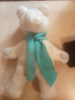 Craft teddy bear in turquoise blue scarf