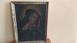 Antique Madonna painting with 50x77 cm frame