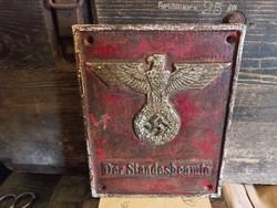 """Német  """"náci"""" Birodalmi öntöttvas tábla, Anyakönyvvezető felirattal."""