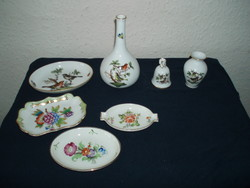 Rare-bell-rostschild-i-class-oh-and-herend-rotschild-victoria-flower-patterned porcelain package-7-pieces