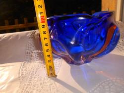 Bohémia  súlyos cseh üveg tál - szép kézműves, masszív darab.
