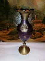 Enameled copper vase