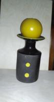 Kerámia gyertyatartó, fekete, sárgával díszítve / jelzett
